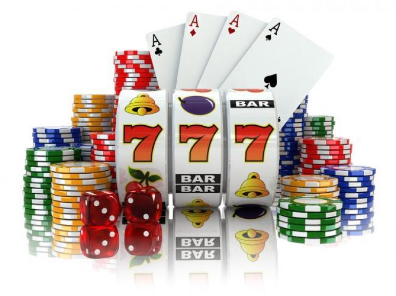 casino slots, casino chips, casino dice and casino cards